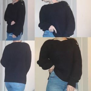 TIME AND TRUE black cable sweater with buttons